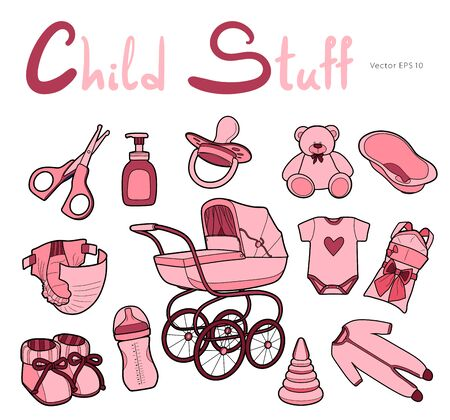 Baby care supplies. Set of vector icons in modern line art style