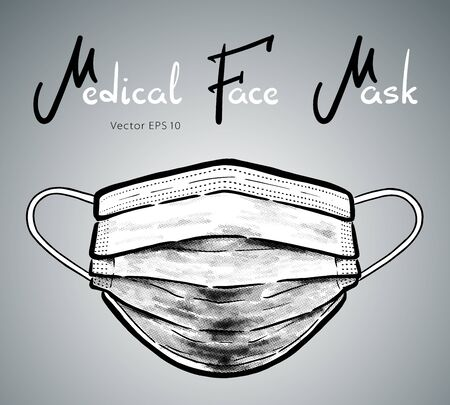 Medical face mask hand drawn vector illustration isolated on background. Illustration