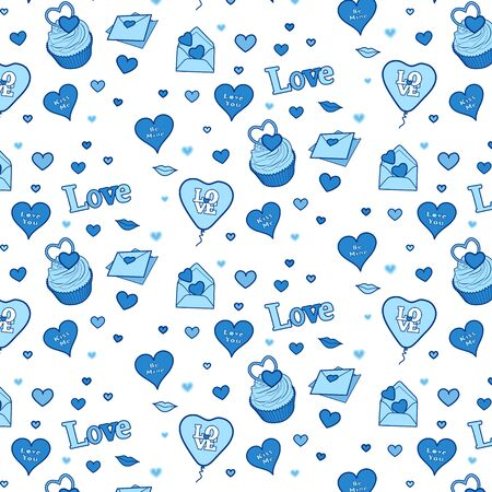 Happy valentines day colourful seamless pattern. Vector
