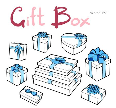 Vector gift box collection with bows and ribbons