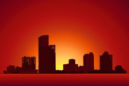 Modern city panorama isolated skyline vector illustration