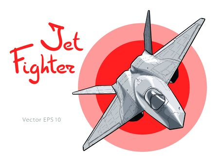 Modern American jet fighter aircraft. Vector sketch Illustration