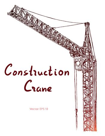 Tower construction crane. Hand drawn vector on white