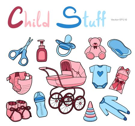 Baby care supplies. Set of vector drawings in line art style