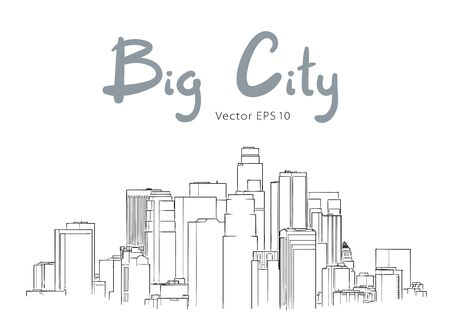 Modern city panorama isolated skyline hand drawn sketch vector illustration
