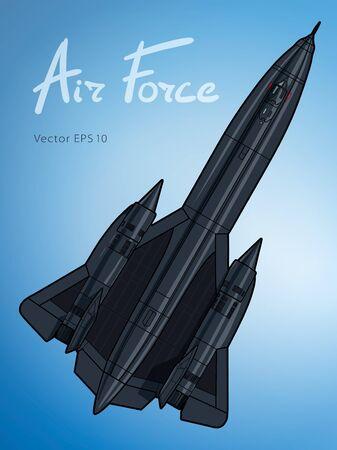 Modern American jet aircraft. Vector draw illustration Çizim