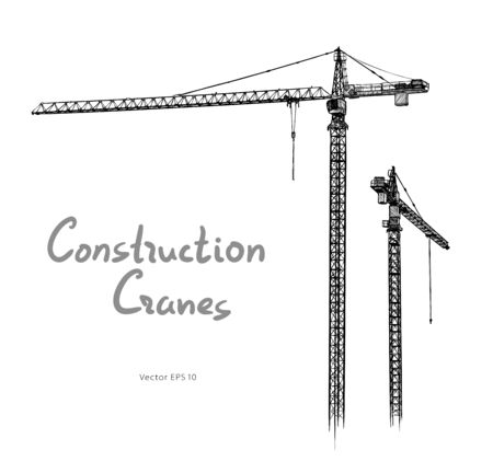 Tower construction cranes Hand drawn vector on white