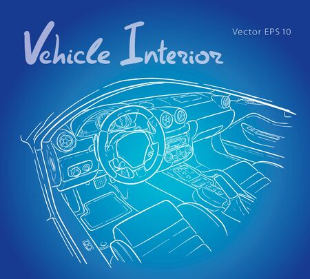 Machine inside. Interior of the vehicle. Vector