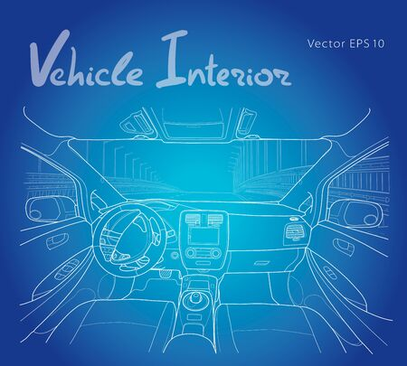 Interior of electromobile with automatic gearbox. Vector illustration