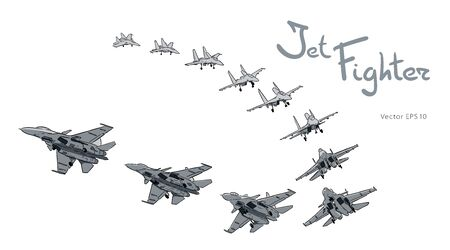 Modern Russian jet fighter aircraft flying by. Vector draw Illustration