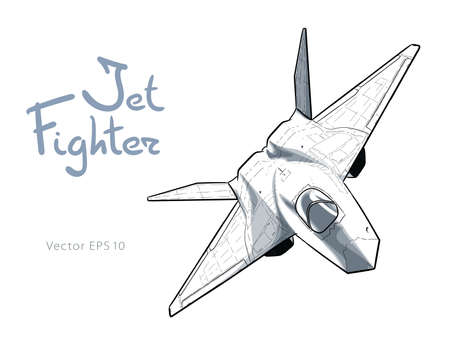 Modern American jet fighter aircraft. Vector sketch