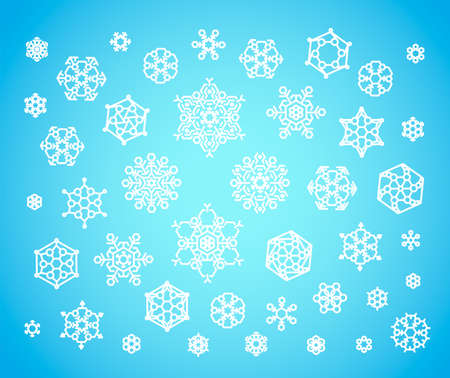Set of cute geometric snowflakes vector illustration Illusztráció
