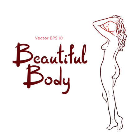 Naked woman body hand drawn sketch vector illustration