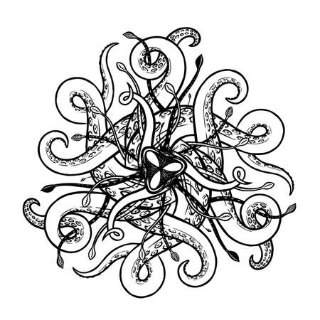 Abstract vector marine radial symmetry ornament with tentacles and suction cups
