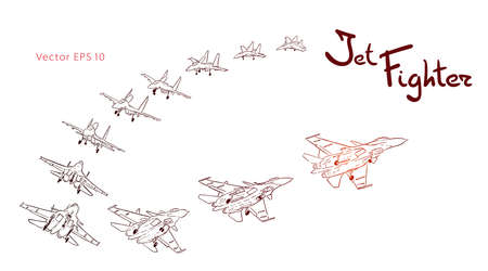 Modern Russian jet fighter aircraft flying by. Vector draw