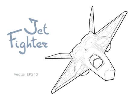 Modern American jet fighter aircraft. Vector sketch Vecteurs
