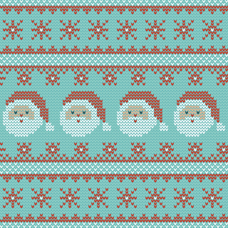 Seamless Christmas nordic knitting vector pattern with Santa Claus, snowflakes and decorative stripes on light green background