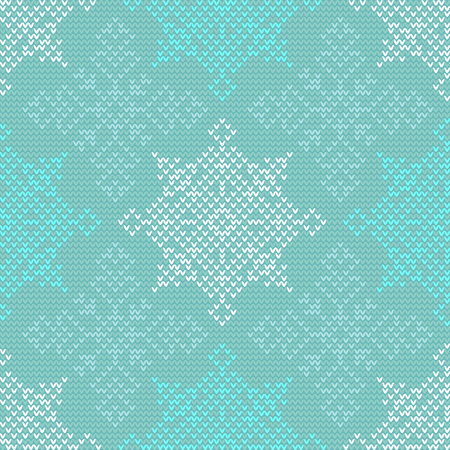 Seamless Christmas knitting vector pattern with colorful snowflakes Illustration