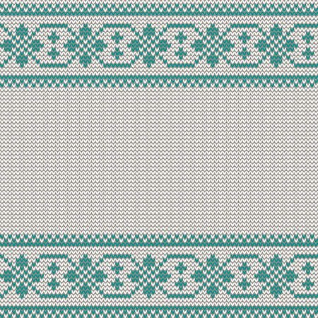 Seamless Christmas nordic knitting vector pattern with green border of white decorative ornament