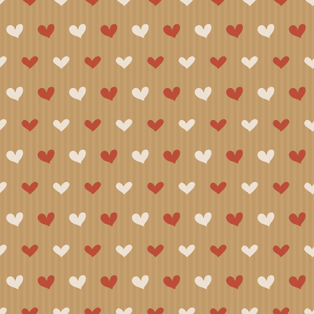 pattern of craft paper with hand drawn colorful hearts in simple style. Valentines Day background