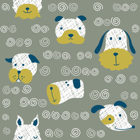 Seamless vector childish pattern with dog animal faces as backround or texture for kids design, fabric, wrapping, wallpaper, textile Ilustração