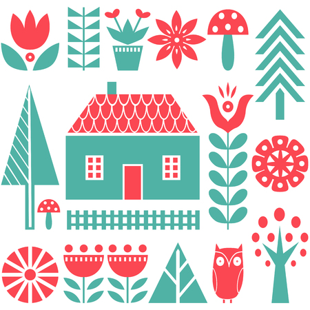 Scandinavian folk art seamless vector pattern with green and red flowers, trees, mushrooms, owl, houses and rural scenery in simple style