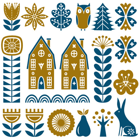 Scandinavian folk art seamless vector pattern with gold and blue flowers, trees, rabbit, owl, houses with decorative elements and rural scenery in simple style