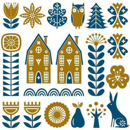 Nahtloses Vektormuster der skandinavischen Volkskunst mit Gold und blauen Blumen, Bäumen, Kaninchen, Eule, Häusern mit dekorativen Elementen und ländlicher Landschaft in der einfachen Art