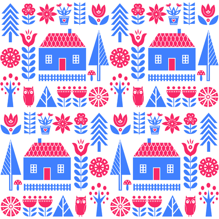 Scandinavian folk art seamless vector pattern with blue and pink flowers, trees, mushrooms, owl, houses and rural scenery in simple style Stock Illustratie