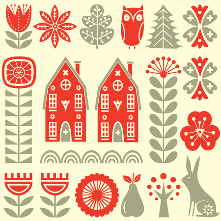 Scandinavian folk art seamless vector pattern with grey and red flowers, trees, rabbit, owl, houses with decorative elements and rural scenery in simple style