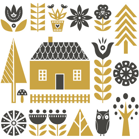 Scandinavian folk art seamless vector pattern with grey and gold flowers, trees, mushrooms, owl, houses and rural scenery in simple style Illustration