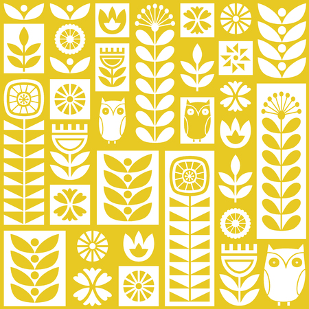 Scandinavian folk art seamless vector pattern with white and yellow flowers, plants and owls in minimalist style Illustration