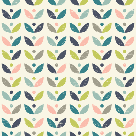 Scandinavian folk art seamless vector pattern with colorful plants on worn out texture in minimalist style  イラスト・ベクター素材