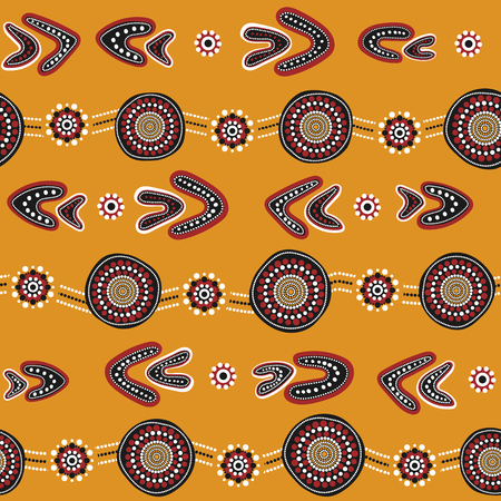 Australian aboriginal seamless vector pattern with colorful dotted circles, rings, boomerangs and wavy stripes on yellow background