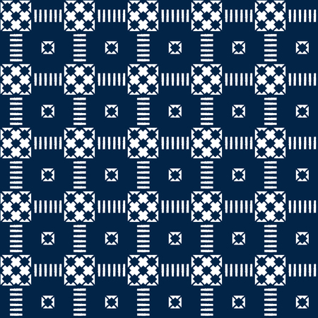 Abstract indigo shibori seamless vector pattern with white print mosaic