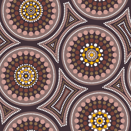 Australian aboriginal seamless vector pattern with colorful dotted circles and crooked squares Vector Illustration