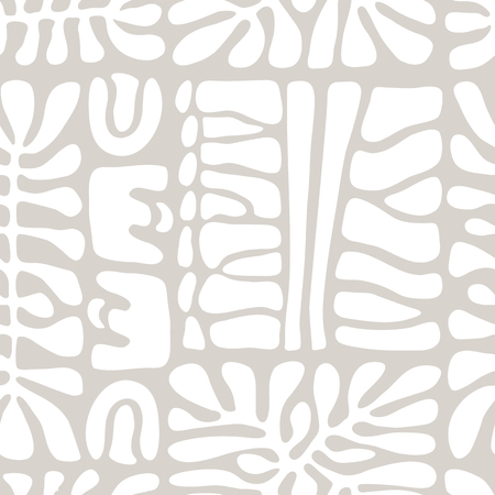 Vector seamless pattern including ethnic Australian motive with white typical elements on grey background