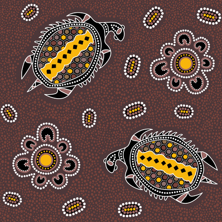 Australian aboriginal seamless vector pattern with colorful dotted circles, turtles and other elements on dotted background or texture