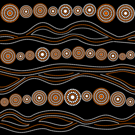 Australian aboriginal seamless vector pattern with white and orange dotted circles, rings and crooked stripes on black background Illustration