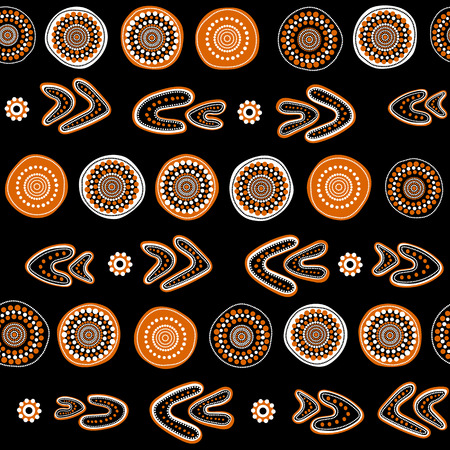 Australian aboriginal seamless vector pattern with white and orange dotted circles, rings and boomerangs on black background