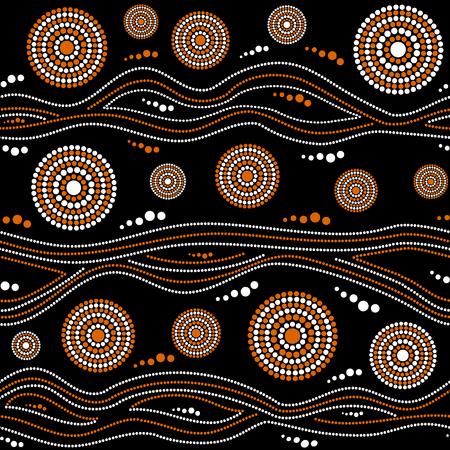 Modèle vectoriel continu autochtone australien avec des cercles en pointillé blanc et orange, des anneaux et des rayures tordues sur fond noir
