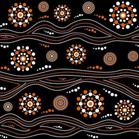 Patrón de vector transparente aborigen australiano con círculos punteados blancos y naranjas, anillos y rayas torcidas sobre fondo negro