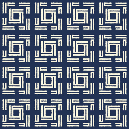 Abstract indigo shibori seamless vector pattern with white ikat print of mosaic