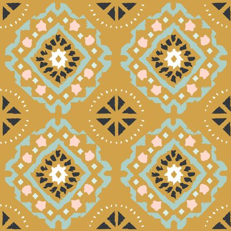 Geometric folk seamless vector pattern with ikat ethnic print of striped ornament as background or texture