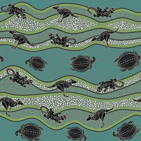 Australian aboriginal art seamless vector pattern with multicolored kangaroo, lizard, turtle and dotted crooked stripes on grey background