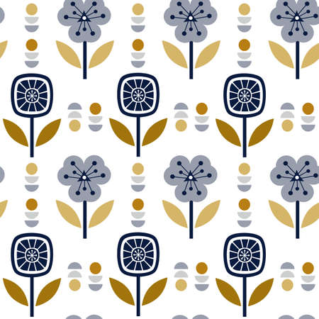 Scandinavian folk art seamless vector pattern with colorful plants in minimalist style
