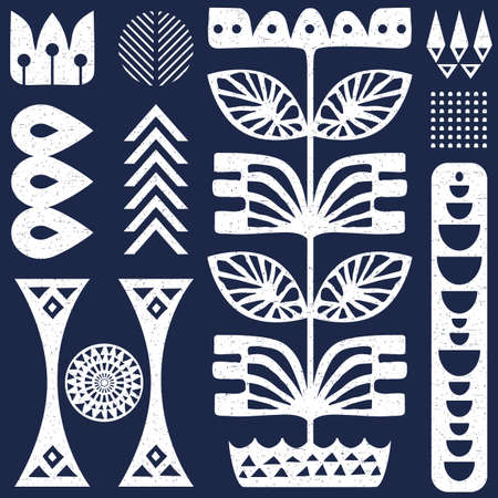 Scandinavian folk art seamless vector pattern with white plants and other figures on worn our blue texture in minimalist style