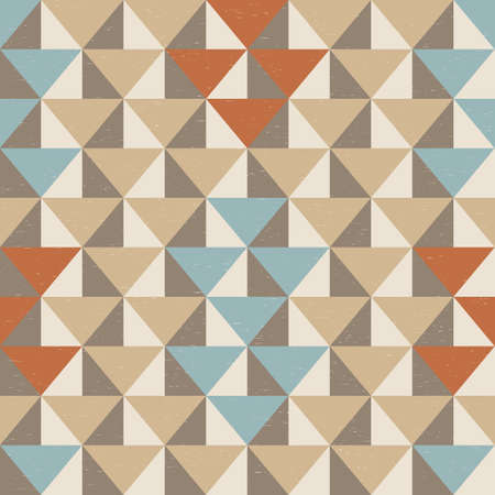 Modern vector abstract seamless geometric pattern with pastel red, beige and blue triangles on the milky background in retro scandinavian style on worn out texture