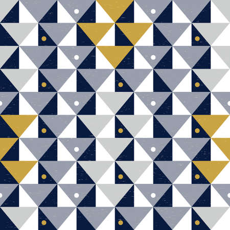 Modern vector abstract seamless geometric pattern with navy blue, golden and gray triangles on the white background in retro scandinavian style on worn out texture