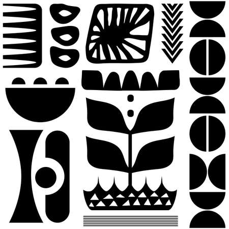 Scandinavian folk art seamless vector pattern with black plants and other figures on white background in minimalist style 向量圖像